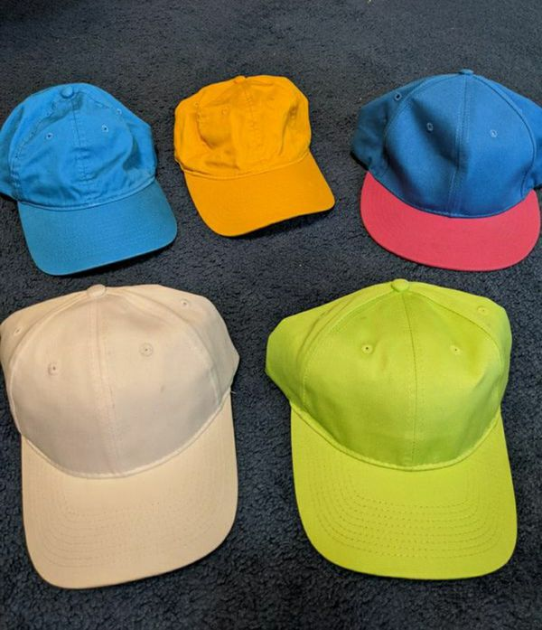 Neon Blue Green Orange Pink Colored Hats Baseball Caps