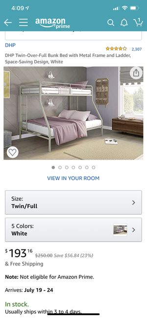 Beautiful white metal bunk bed for Sale in Phoenix, AZ