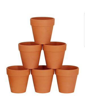 Winlyn 6 Pcs Large Terracotta Pot Clay Pots 5'' Clay Ceramic Pottery Planter Cactus Flower Pots Succulent Pot Drainage Hole- Great for Sale in Bakersfield, CA
