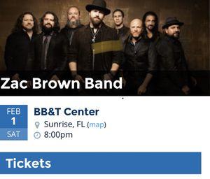 (2) Zac Brown Band 2Nite BB&T Center for Sale in Palm Beach Gardens, FL