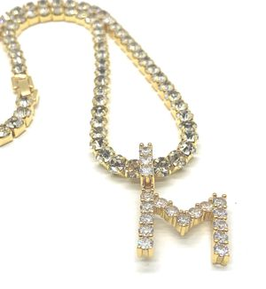 Tennis Chain With Initial Letter Stainless Steel 18K Gold Plated Size Length 18,20,24,26,28 for Sale in Kissimmee, FL