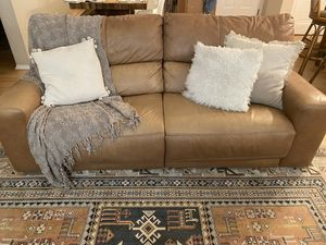 Modern Real Leather Camel Couch for Sale in Irvine, CA