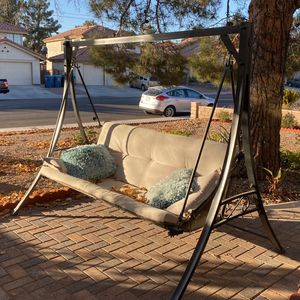 Outdoor Porch Swing Lounge Chair with Top Canopy - Beige for Sale in Las Vegas, NV