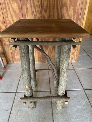 """Rustic wood table (top is 14x14"""") and two wooden shelves for Sale in Englewood, FL"""