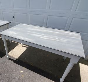 Shabby Chic Dining Kitchen Table or Desk, White and Gray Chalk Paint for Sale in Wheaton, IL