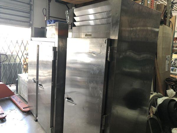 "Traulsen 36"" pass thru stainless commercial refrigerator"