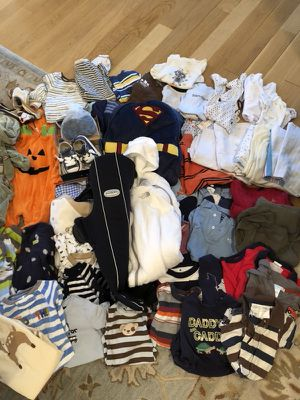 TONS of baby clothes, shoes, jackets, blankets and Baby Bjorn carrier for Sale in Silver Spring, MD