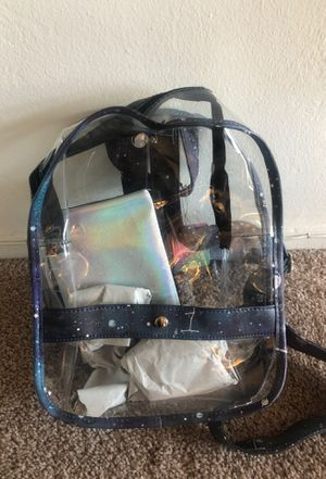 Los Angeles clear see through purse backpack back to school space theme stars ufo sky + wallet journal concerts school for Sale in San Diego, CA