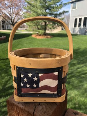 """Americana"" Solid Wood Basket with Rotating Handle for Sale in Olathe, KS"