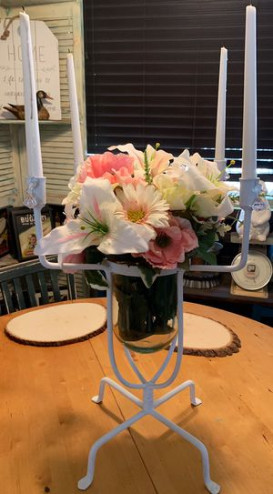 22 1/2 tall White Wrought Iron and Glass Candelabra $25 for Sale in Peoria, AZ