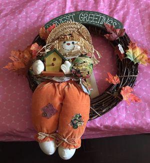 FIRM Price- Halloween scarecrow wreath hangs on a door for Sale in Hammond, IN