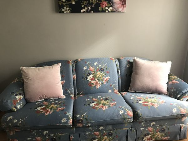 Vintage Floral Three Cushion Sofa