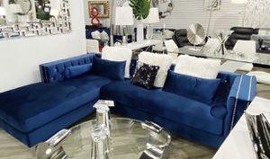 Blue velvet sofa sectional 🔥⭐️FINANCING AVAILABLE for Sale in Miami, FL