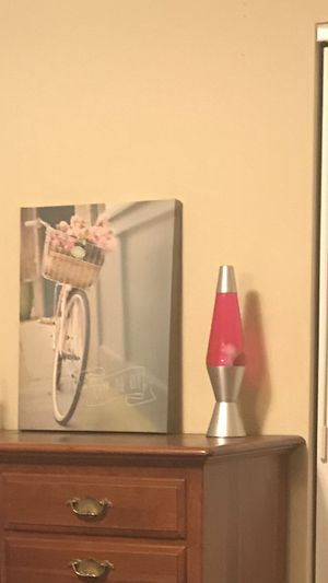 $30 Pink lava lamp and canvas bicycle picture for Sale in Longwood, FL