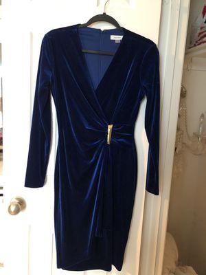 Royal Blue velvet Calvin Klein bodycon dress size 4 also fits 6 for Sale in Houston, TX