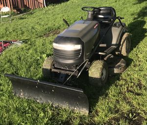 Craftsman riding mower with plow for Sale in Richford, NY