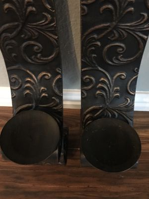 2 Decorative Wall Sconces - Candle Holders, Oil Rubbed Bronze for Sale in Rockwall, TX