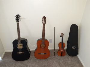 Savannah acoustic guitar $120 , Gibson violin and case $180 , Spanish guitar Yamaha $165 for Sale in Denver, CO