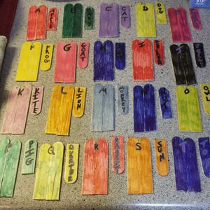 Double Sided Colored Letter Matching Mini Sticks With Words for Sale in Appleton, WI