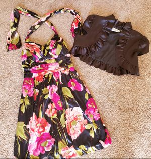 Satin Floral Dress with Coverup for Sale in East Wenatchee, WA