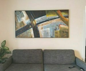 HUGE - Abstract Oil Painting by P. Robert w/ frame - Large wall art - 72 x 37.5 for Sale in Virginia Beach, VA