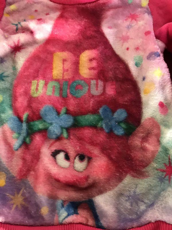 Trolls Poppy Comfy Fuzzy Pullover Sweatshirt Size S 6/6X