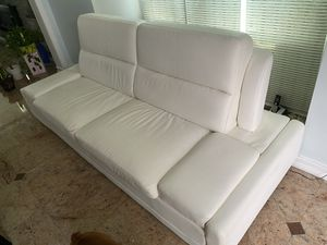 2 White leather couches for Sale in Valley Stream, NY