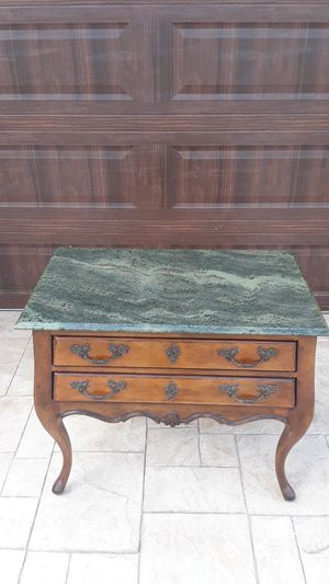 Two (2) Antique Solid Wood Henredon Registry Nightstand, Console or Accent Marble Top Table 30H X 21W X 36L Excellent Clean Condition for Sale in Miami, FL