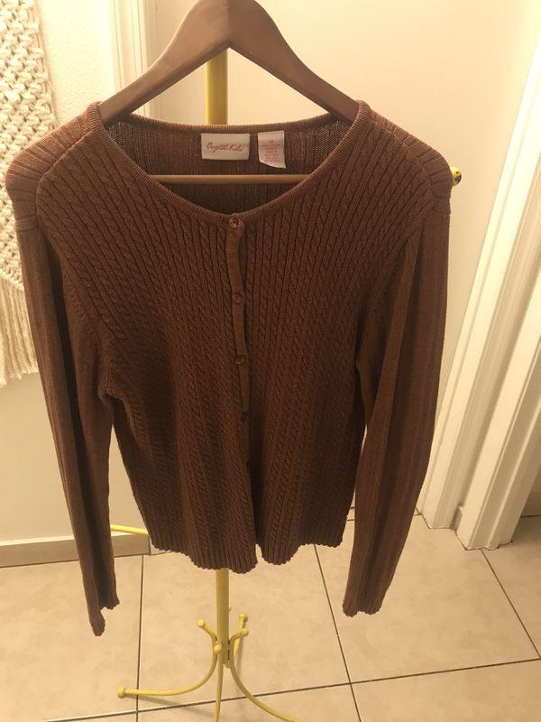 100% cotton brown/orange cardigan