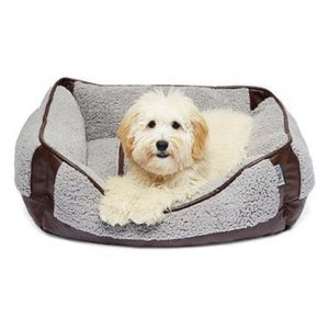Precious Tails Brown Faux Leather Trim with Gray Sherpa Rectangular Pet Bed Cuddler, Gray-Brown for Sale in Ontario, CA