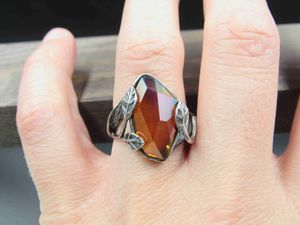 Size 7 Sterling Silver Odd Glass Rustic Leaf Band Ring Vintage Statement Engagement Wedding Promise Anniversary Cocktail Cute Cool for Sale in Lynnwood, WA