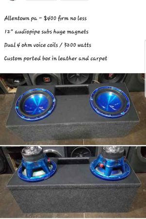 Audiopipe subs in custom box hits hard for Sale in Allentown, PA