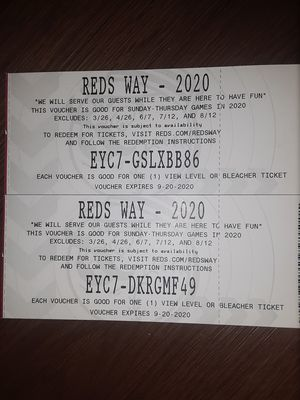 2 Cincinnati reds tickets for Sale in Cincinnati, OH