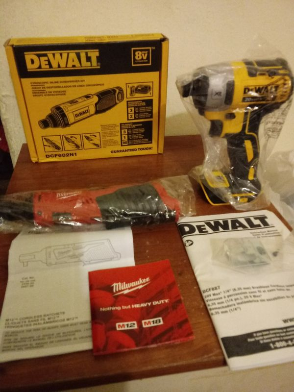 Dewalt and milwaukee brands and they are brand new out the box but dont come with batteries only the screwdriver kit has charger n battery....