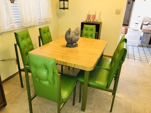 Petite breakfast table 47x36x30H with 6 steel chairs for Sale in San Jose, CA