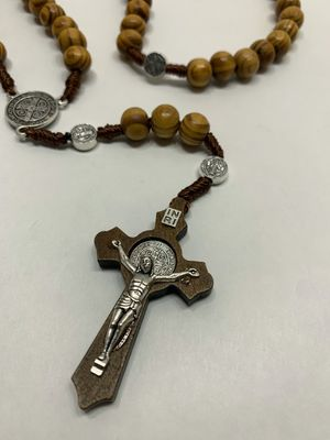 10mm Round Wooden Rosary Necklace Silver Virgin Mary Wood Jesus Cross Necklace for Mother Gifts for Sale in Los Angeles, CA