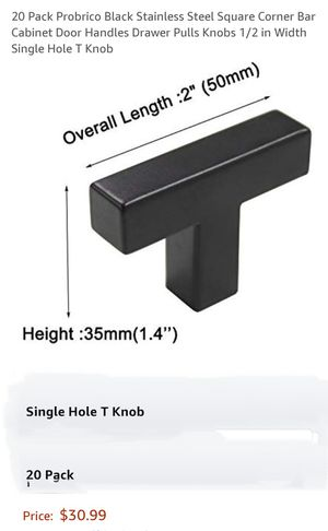 20 Pack Brobrico Black Stainless Steel Square Corners Bar Cabinet Door Handles Drawer Pulls Knobs for Sale in South Gate, CA