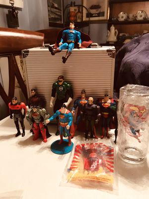 DC Comics Action Figures, I took Batman out and added a 1997 Burger King sealed Superman toy and a glass (Free Shipping) for Sale in PA, US