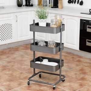 3-Tier Metal Storage Cart Mobile Organizer with Adjustable Shelves for Sale in Wildomar, CA