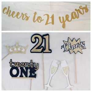 anniversary / birthday party decor - CHEERS to 21, 50, etc. YEARS banner + photo booth props for Sale in Santa Ana, CA