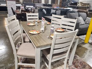 7 Piece Dining Set, White/Light Brown for Sale in Santa Ana, CA