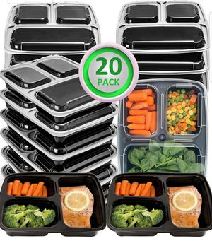 20 Pack Meal Prep Containers 2 and 3 Compartment Bento & Mealcon Microwave Dishwasher Freezer Safe Food Storage Containers with lids-Portion Control for Sale in Los Angeles, CA