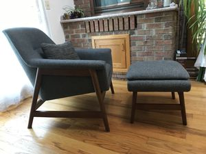 West Elm Midcentury modern chair & ottoman for Sale in NJ, US