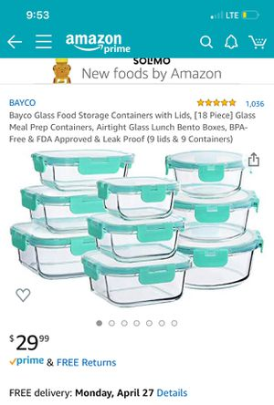 Brand new 9 pieces glass food storage containers with lids $20 for Sale in Whittier, CA