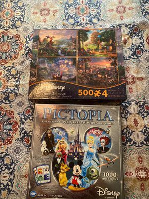 Disney Set!! Pictopia Picture-trivia game and 4 500 piece puzzles! for Sale in Portland, OR