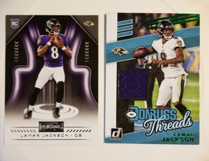 2018 Lamar Jackson Panini Playbook rookie card & 2019 Donruss Green parallel jersey card for Sale in Nederland, TX
