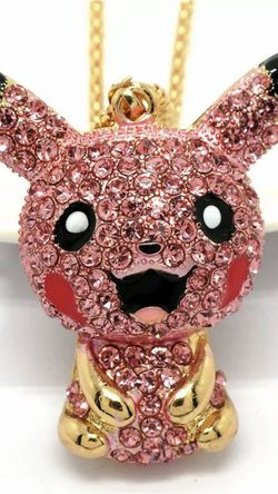 Pokémon Pickachu Rhinestone Pink 3 inch Charm Necklace On18 Inch Gold Adjustable Chain for Sale in Northfield,  OH