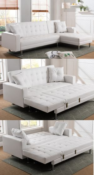 Modern white faux leather adjustable sectional sofa bed(queen size) for Sale in Long Beach, CA