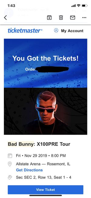 Bad Bunny Concert Tickets Floor Seats for Sale in Warrenville, IL