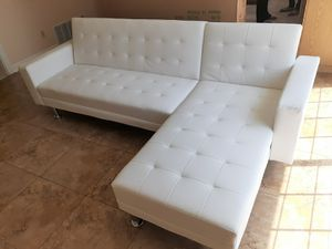 Brand New Sofa Bed Futon White Bonded Leather Reversible Chaise $349 FREE LOCAL DELIVERY & SET UP for Sale in San Bernardino, CA